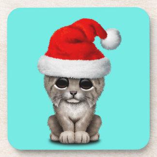 Cute Lynx Cub Wearing a Santa Hat Coaster