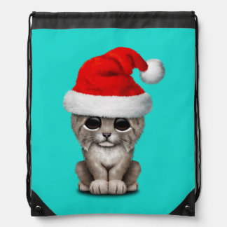 Cute Lynx Cub Wearing a Santa Hat Drawstring Bag