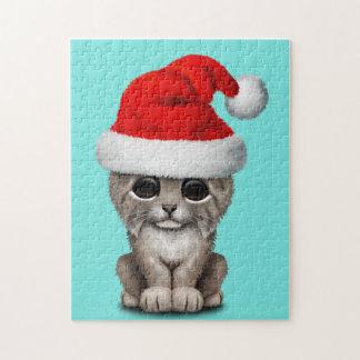 Cute Lynx Cub Wearing a Santa Hat Jigsaw Puzzle
