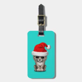 Cute Lynx Cub Wearing a Santa Hat Luggage Tag
