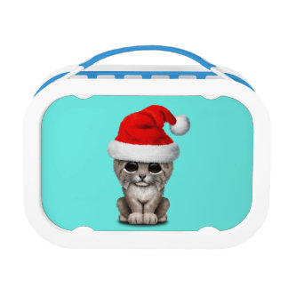 Cute Lynx Cub Wearing a Santa Hat Lunch Box