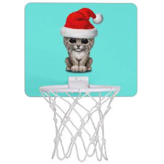 Cute Lynx Cub Wearing a Santa Hat Mini Basketball Hoop