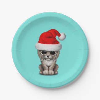 Cute Lynx Cub Wearing a Santa Hat Paper Plate