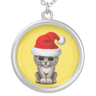 Cute Lynx Cub Wearing a Santa Hat Silver Plated Necklace