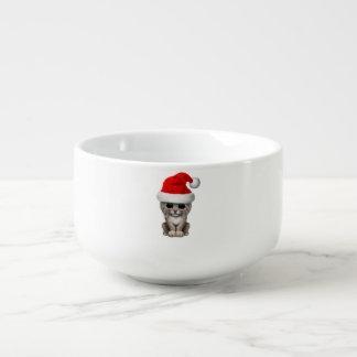 Cute Lynx Cub Wearing a Santa Hat Soup Mug