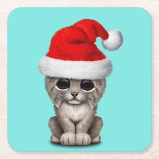 Cute Lynx Cub Wearing a Santa Hat Square Paper Coaster