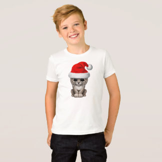 Cute Lynx Cub Wearing a Santa Hat T-Shirt