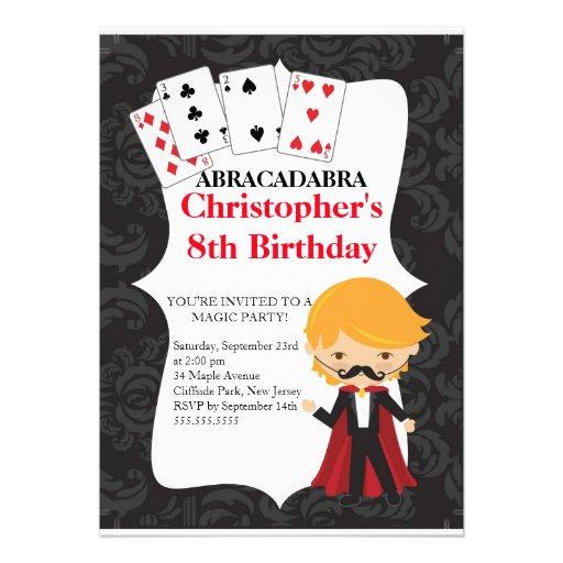 Cute Magic Birthday Party Invitations