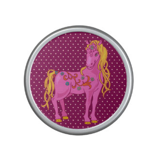 Cute Magic Horse with rainbow flowers illustration Bluetooth Speaker