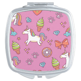 Cute Magic Unicorn Compact Mirror