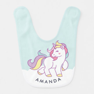 Cute Magical Unicorn Pastel color Personalized Bibs