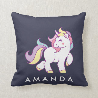 Cute Magical Unicorn Pastel color Personalized Throw Pillow