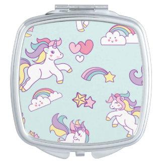 Cute Magical Unicorn Pastel color Personalized Travel Mirror