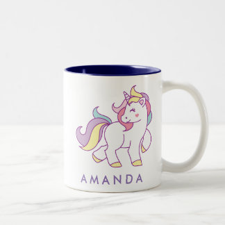 Cute Magical Unicorn Pastel color Personalized Two-Tone Coffee Mug