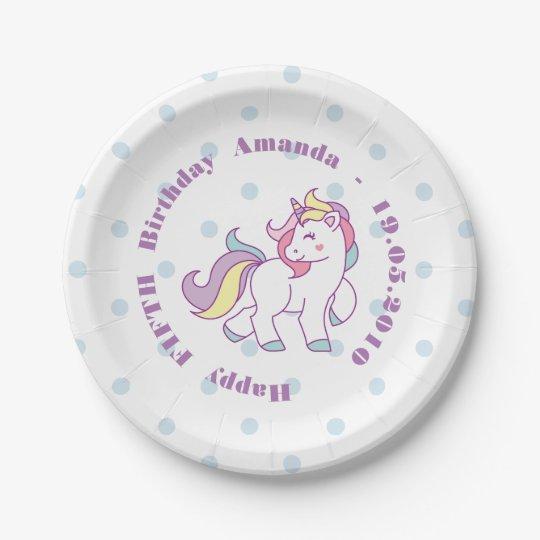 Cute Magical Unicorn Polka DOT custom Birthday Paper Plate
