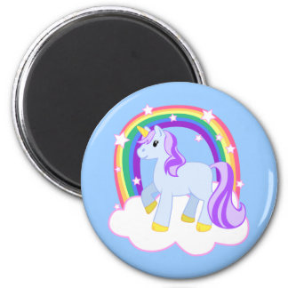 Cute Magical Unicorn with rainbow (Customizable!) 6 Cm Round Magnet