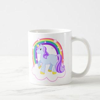 Cute Magical Unicorn with rainbow (Customizable!) Basic White Mug