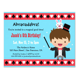 Cute Magician Kids Magic Birthday Party 11 Cm X 14 Cm Invitation Card