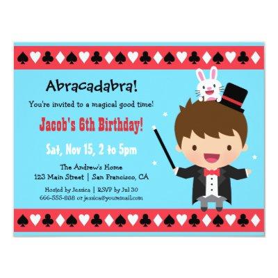 Cute Boy Magician Magic Birthday Party Invitations Zazzlecomau