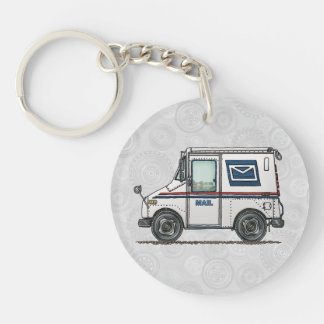 Cute Mail Truck Double-Sided Round Acrylic Key Ring