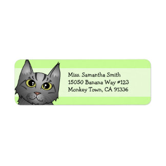 Cute Maine Coon Cat Cartoon - Silver Tabby Return Address Label