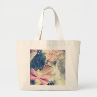 Cute Maine Coon Kitten Retro Style Large Tote Bag