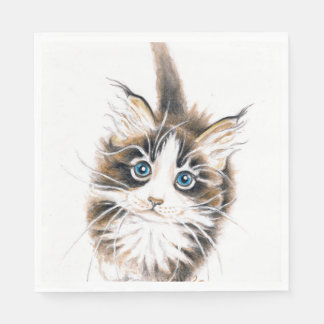 Cute Maine Coon Kitty Disposable Napkin