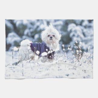 Cute Maltese Dog Tea Towel