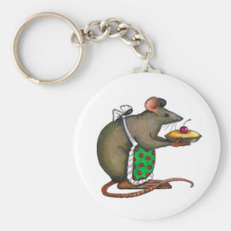 Cute Mama Rat With Pie: Drawing: Color Pencil Key Ring