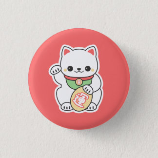 Cute Maneki Neko 3 Cm Round Badge