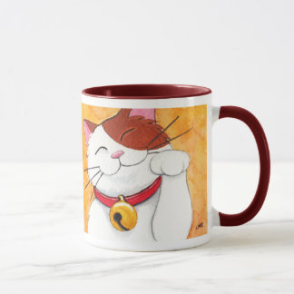 Cute Maneki Neko Lucky Calico Cat Mug
