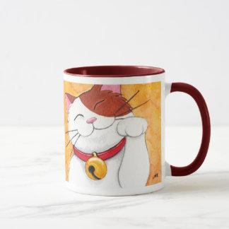 Cute Maneki Neko Lucky Calico Cat Mug