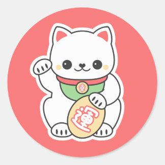 Cute Maneki Neko Round Sticker