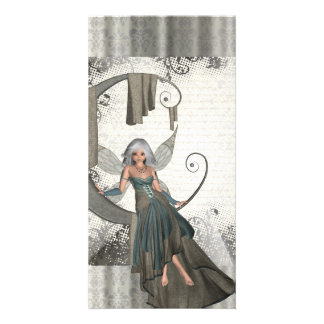 Cute manga fairy photo card template