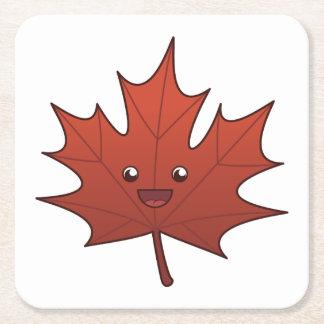 Cute Maple Leaf Square Paper Coaster