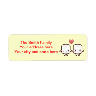Cute Marshmallow couple Return Address Label