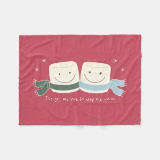 Cute Marshmallow Love Winter Holiday Blanket Fleece Blanket