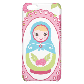 Cute Matryoshka Russian Nesting Doll and Roses iPhone 5C Case