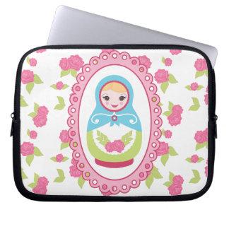 Cute Matryoshka Russian Nesting Doll and Roses Laptop Computer Sleeve