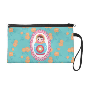 Cute Matryoshka Russian Nesting Doll and Roses Wristlet