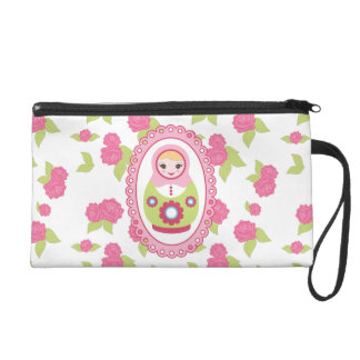 Cute Matryoshka Russian Nesting Doll and Roses Wristlet Purse