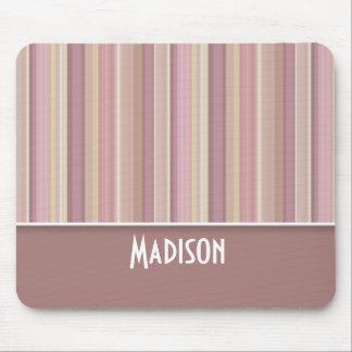 Cute Mauve, Brown Stripes Mouse Pad
