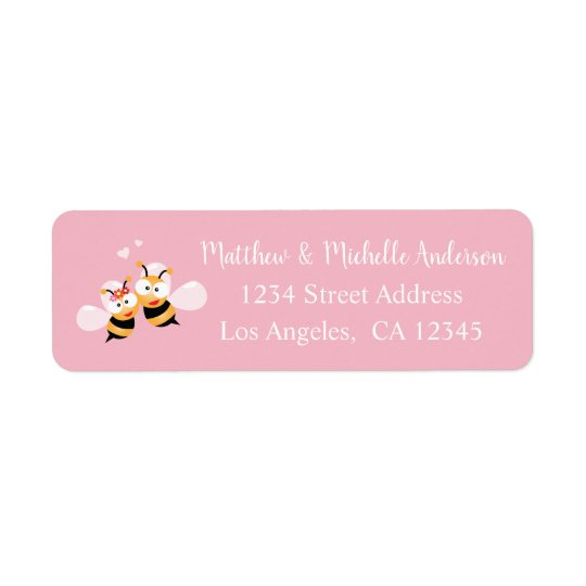 Cute Meant To Bee Whimsical Pink Wedding Address Return Address Label
