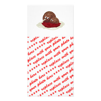 Cute Meatball Eating Spaghetti Photo Greeting Card