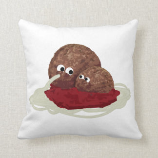 Cute Meatball Eating Spaghetti Throw Pillow