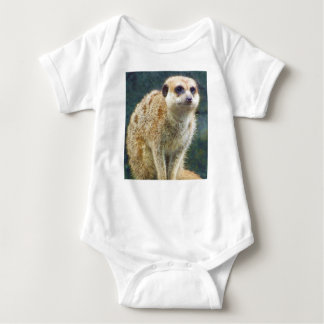 Cute Meerkat at Attention, Kansas City Zoo Baby Bodysuit