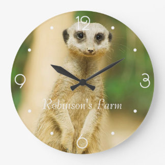 Cute Meerkat Large Clock