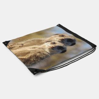 cute meerkats 1214 drawstring bag