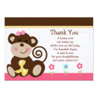 Cute Melanie Monkey Baby Shower Thank You Card