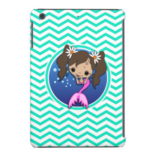 Cute Mermaid; Aqua Green Chevron iPad Mini Covers